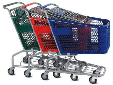 Plastic shopping carts nested