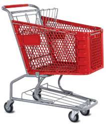 Small plastic grocery shopping cart