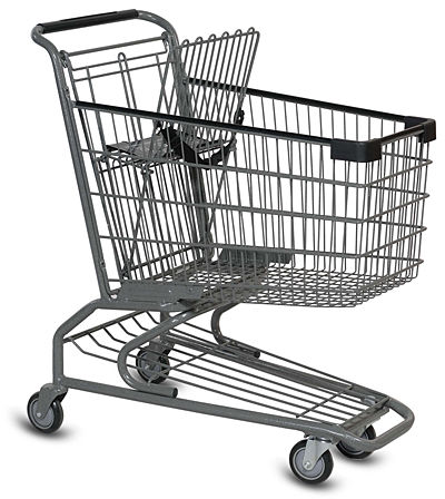 Small metal grocery cart